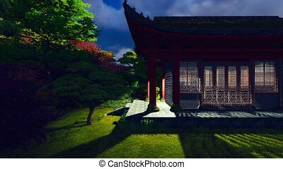 Buddhist temple in the night