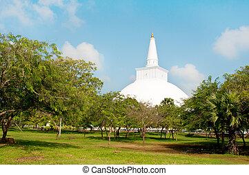 Buddhist white stupa Ruvanveli, Anuradhapura, Sri lanka