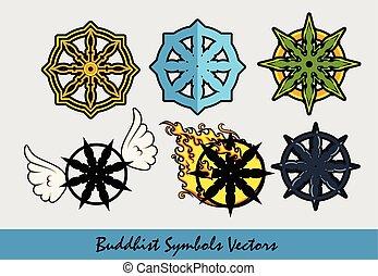 buddhista, jelkép, vektor, állhatatos