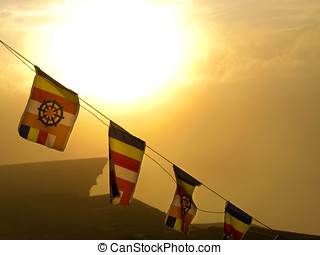 Buddhistic flags blowing to the morning prayer