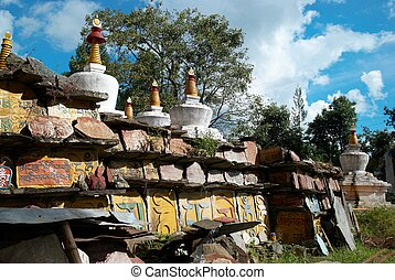 Buddhistic stupa from the indian monastery. India, Sikkim