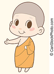 buddhistischer mönch, karikatur