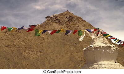 Buddhists temple, stupa, with prayer flags, India - Low...