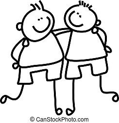 buddies - line drawing of two little boys who are good...