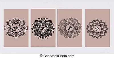 buddisme, mandala, -, tegn
