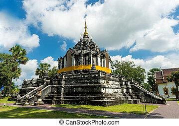 buddismo, settentrionale, lamphun, phra, tailandia, yuen, tailandia, tailandese, wat, tempio