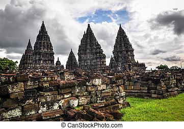 Buddist temple Borobudur Prombanan complex in Yogjakarta in ...
