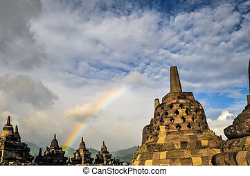 Buddist temple Stupa Rainbow Borobudur complex in Yogjakarta...