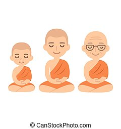 buddista, meditare, monaci