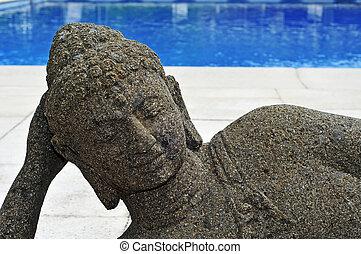 buddysta, kałuża, Pływacki