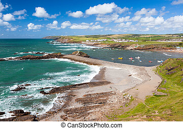 Bude Cornwall England - Overlooking Bude breakwater Cornwall...