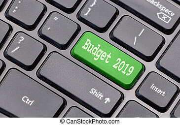 Budget 2019 on green enter key, of a black keyboard.