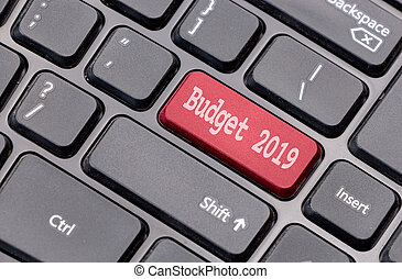 Budget 2019 on red enter key, of a black keyboard.