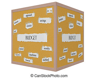 Budget 3D cube Corkboard Word Concept