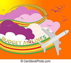 Budget Airlines Shows Special Offer Flights 3d Illustration
