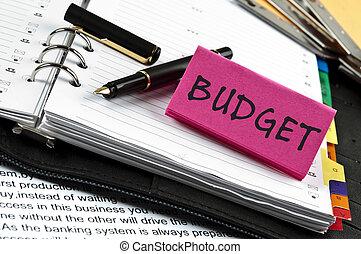 budget, anteckna, på, dagordning, och, penna