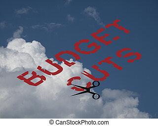 budget, ausgabe, schnitte