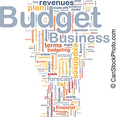 Budget background concept - Background concept wordcloud...