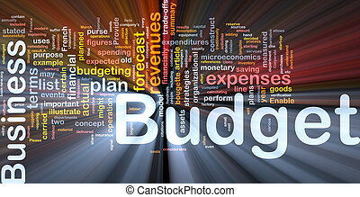 Background concept wordcloud illustration of budget glowing light