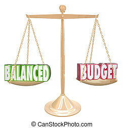 budget bilanciato, 3d, parole, scala, finanziario, costi,...