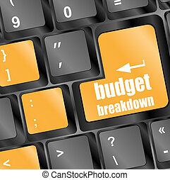 budget breakdown words on computer pc keyboard keys