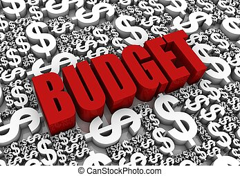 """Budget - """"BUDGET"""" 3D text surrounded by dollar currency..."""