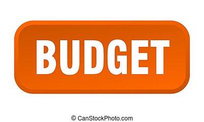 budget button. budget square 3d push button