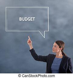 BUDGET CONCEPT Business Concept. Business Woman Graphic Concept