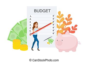 Budget concept. Making financial plan for earning
