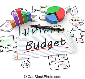 Budget concept - Pie chart on a stock chart with a budget