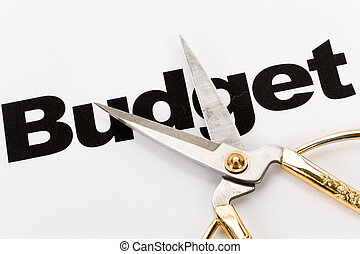 Budget Cut - text of Budget and scissors, concept of Budget ...