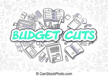 Budget Cuts - Cartoon Green Word. Business Concept. - Budget...