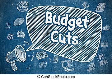 Budget Cuts - Cartoon Illustration on Blue Chalkboard. -...