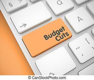 Budget Cuts - Inscription on Orange Keyboard Key. 3D. -...