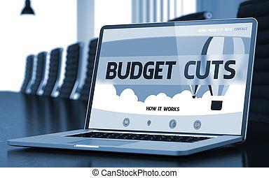 Budget Cuts - on Laptop Screen. Closeup. 3D. - Budget Cuts...