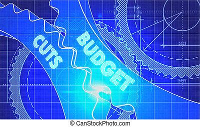 Budget Cuts on the Cogwheels. Blueprint Style. - Budget Cuts...
