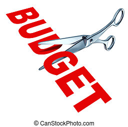 Budget cuts symbol for reducing budgeted expenditures by...