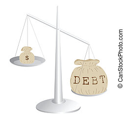 Budget deficit - Debt and earnings on a scale, eps8