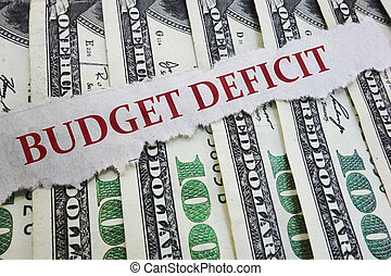 Budget Deficit newspaper headline on money