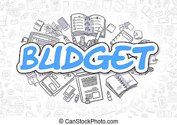 Budget - Doodle Blue Inscription. Business Concept. - Blue...