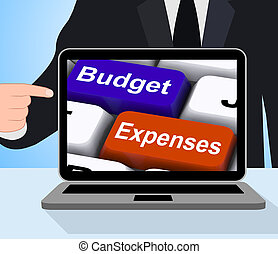 Budget Expenses Keys Displays Company Accounts And Budgeting