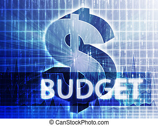 Budget Finance illustration, dollar symbol over financial ...