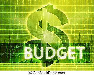 Budget Finance illustration, dollar symbol over financial...