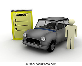 budget for a car - illustration of a budget scene with car...