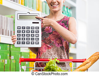 Budget friendly shopping at supermarket