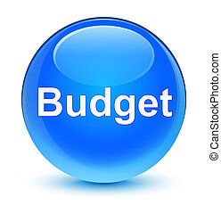 Budget glassy cyan blue round button