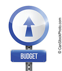 budget going up road sign illustration design
