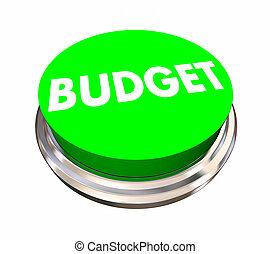 Budget Green Button Spending Money Financial Planning 3d Illustration