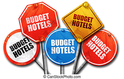 budget hotels, 3D rendering, street signs