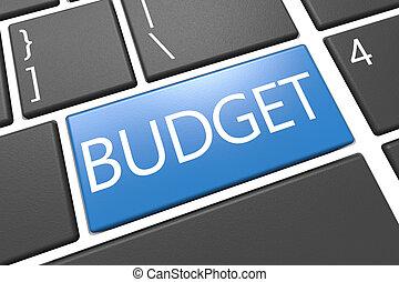 Budget - keyboard 3d render illustration with word on blue...